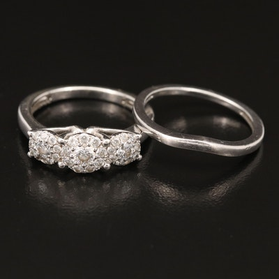 Sterling Silver Cubic Zirconia Ring and Contour Band