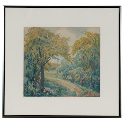 Charles Biesel Landscape Watercolor Painting of Springtime Forest