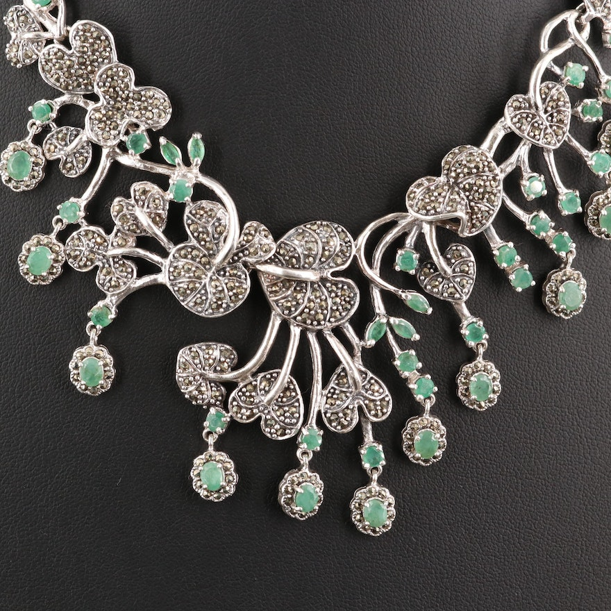 Sterling Emerald and Marcasite Foliate Link Necklace