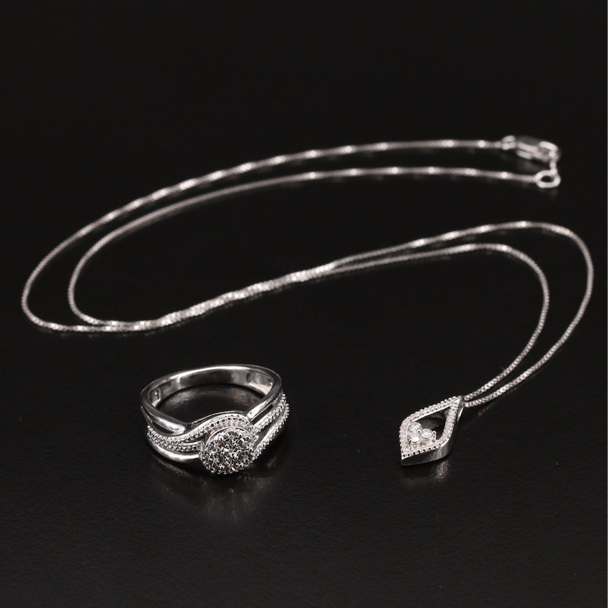 Sterling Diamond Necklace and Ring