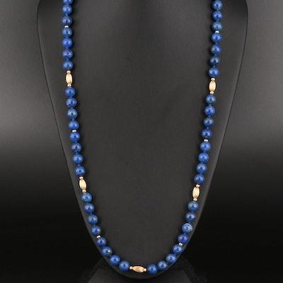 14K Lapis Lazuli Endless Necklace