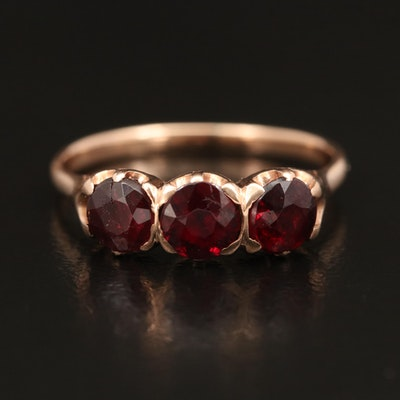 Victorian 14K Three Stone Ring with Garnet and Garnet Glass Doublet