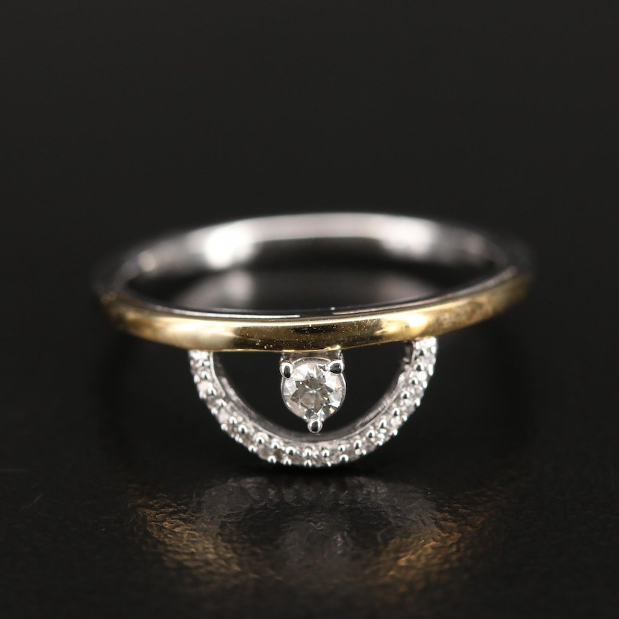 Sterling Diamond Ring with 10K Accent