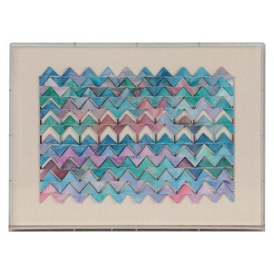 """Kim Wolfe Mixed Media Collage """"Kite Series 67,"""" 1986"""