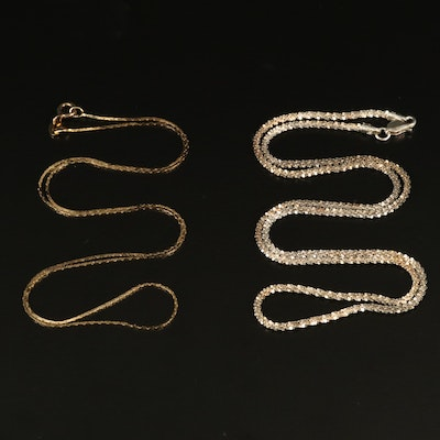 Sterling Silver Cobra and Popcorn Link Necklaces