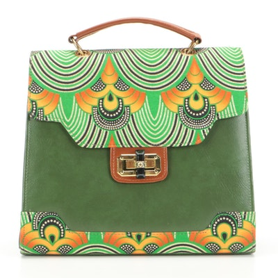 Dr. Pachanga Ntsiki Satchel in Africa Gold Wax Fabric and Vegan Leather