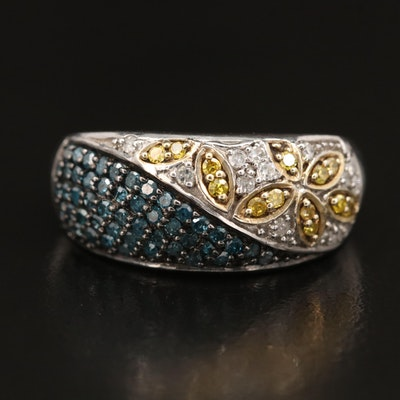 Sterling Silver Pavé Diamond Ring