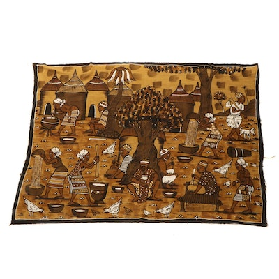 African Handwoven and Painted Textile with Pictorial Village Scene