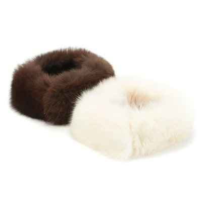 Brown and White Fox Fur Collars