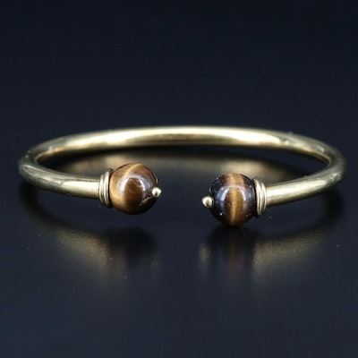 18K Cuff with Tiger's Eye Terminals