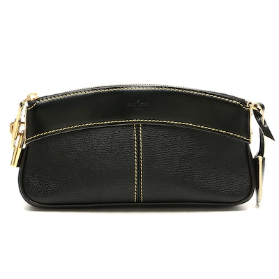 Louis Vuitton Lockit Clutch in Black Contrast Stitched Leather