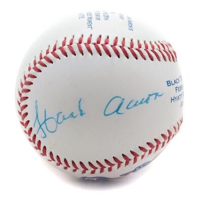 "1999 Hank Aaron Signed ""25th Anniversary Home Run 715"" Fotoball, Visual COA"