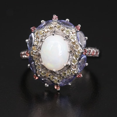 Sterling Silver Opal, Tanzanite and Sapphire Ring