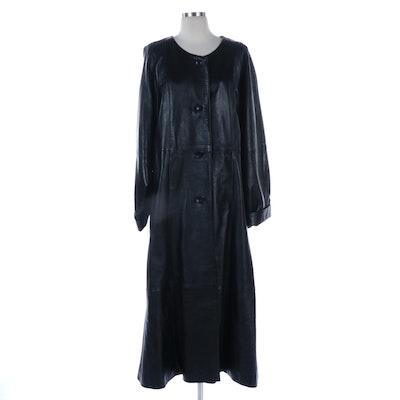 Barbara King Black Leather Full-Length Coat