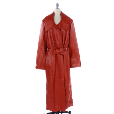Barbara King Red Leather Double-Breasted Coat with Tie Belt and Wide Collar