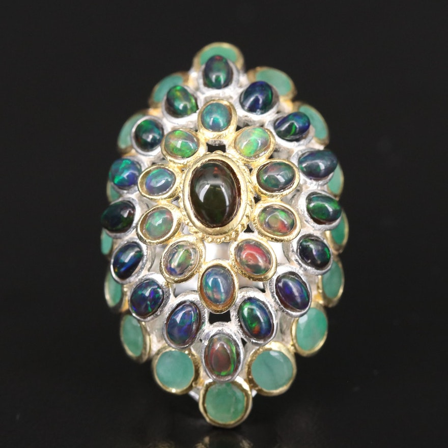Sterling Silver Opal and Emerald Navette Bombé Ring
