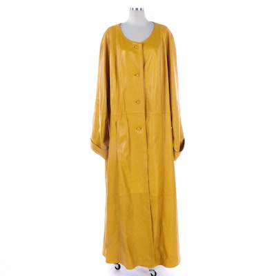Barbara King Full-Length Coat in Patchwork Yellow Leather