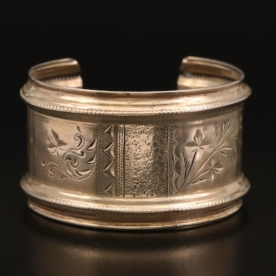 Vintage Sterling Hand Engraved Cuff