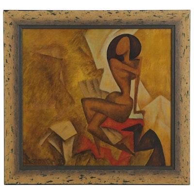 Vataman Nikolay Pavlovich Cubist Style Oil Painting of Seated Female Nude