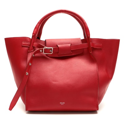 Céline Small Big Bag Two-Way Tote in Pop Red Smooth Leather