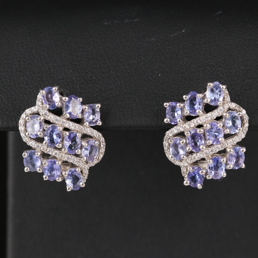 Sterling Tanzanite and Cubic Zirconia Earrings