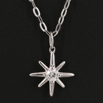 Sterling Silver Starburst Pendant Necklace