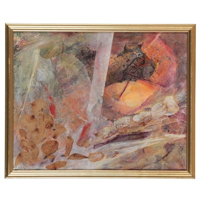 """Angela McElwain Abstract Mixed Media Painting """"Sekhmet, Always Curious..."""""""