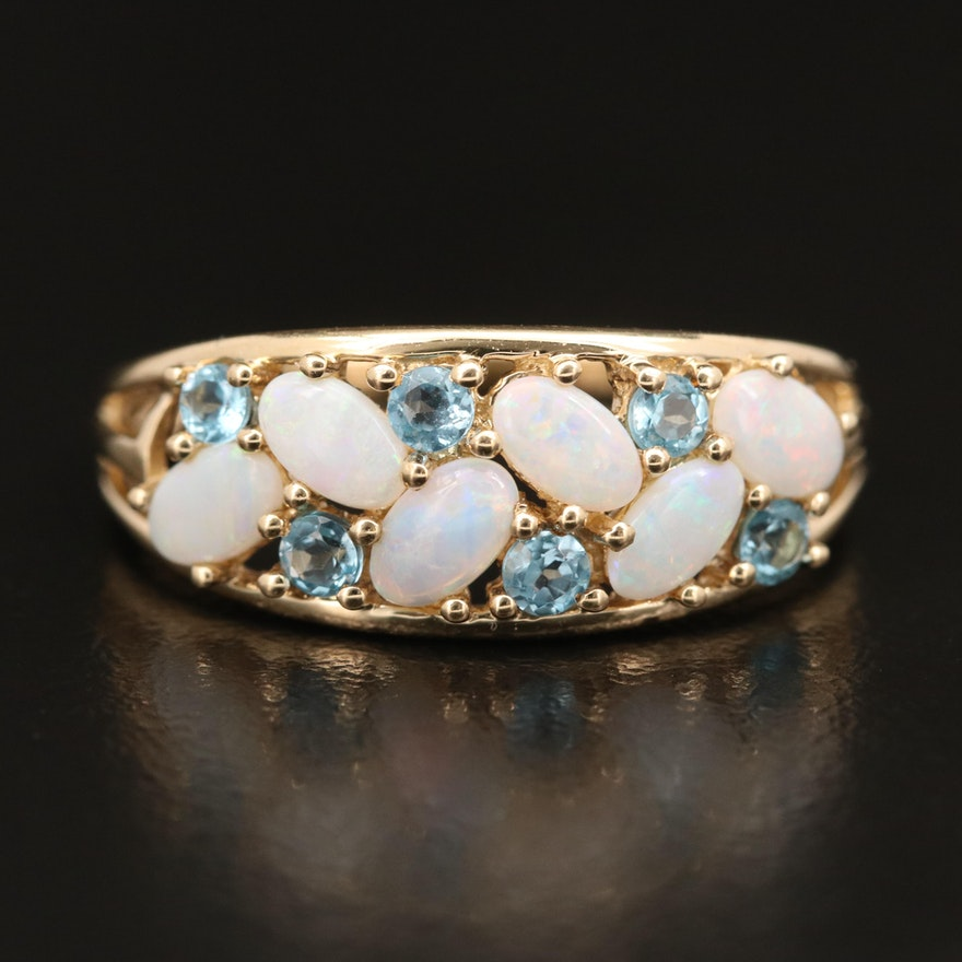14K Opal and Sky Blue Topaz Ring