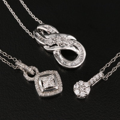 Sterling Silver Diamond and Cubic Zirconia Pendant Necklaces