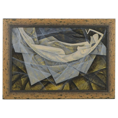 Vataman Nikolay Pavlovich Cubist Style Oil Painting of Reclining Female Nude
