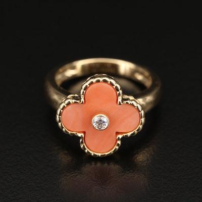 Van Cleef & Arpels 18K Coral and Diamond Alhambra Ring