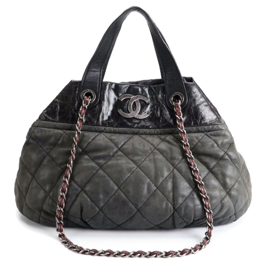 Chanel In-The-Mix Tote in Quilted Iridescent and Crinkle Calfskin