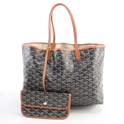 Goyard St. Louis PM Tote and Pouch in Black Goyardine Coated Canvas