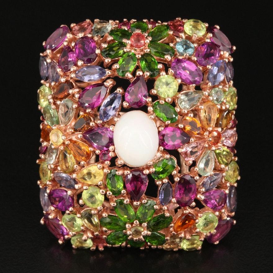 Sterling Silver Opal, Garnet and Diopside Rectangular Flower Cluster Ring