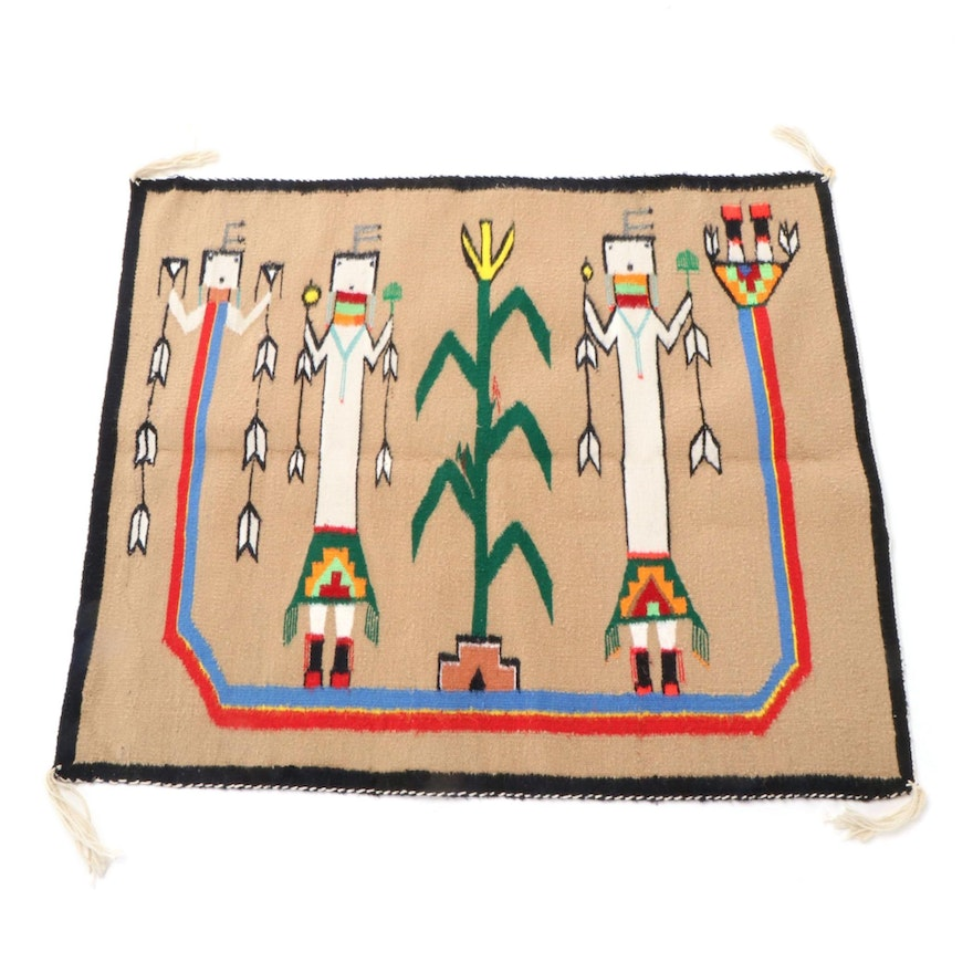 2'6 x 3'1 Handwoven Southwestern Style Pictorial Accent Rug
