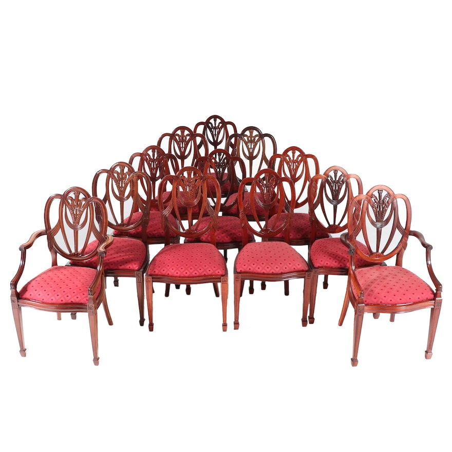 Hepplewhite Style Cherry and Walnut Heart-Back Dining Chairs, Late 20th Century
