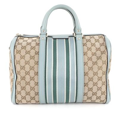 Gucci Web Medium Joy Boston Bag in GG Canvas with Leather Trim