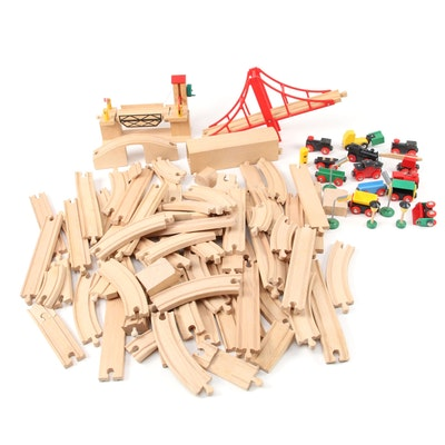 Brio Child's Wooden Train Set with Two Bridges, Cars and Tracks