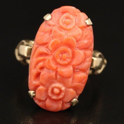 Victorian 10K Carved Oval Coral Cabochon Ring