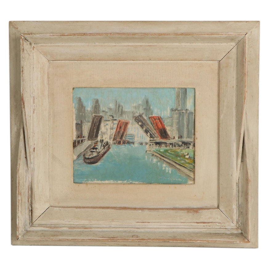 Chicago River and Michigan Avenue Cityscape Oil Painting