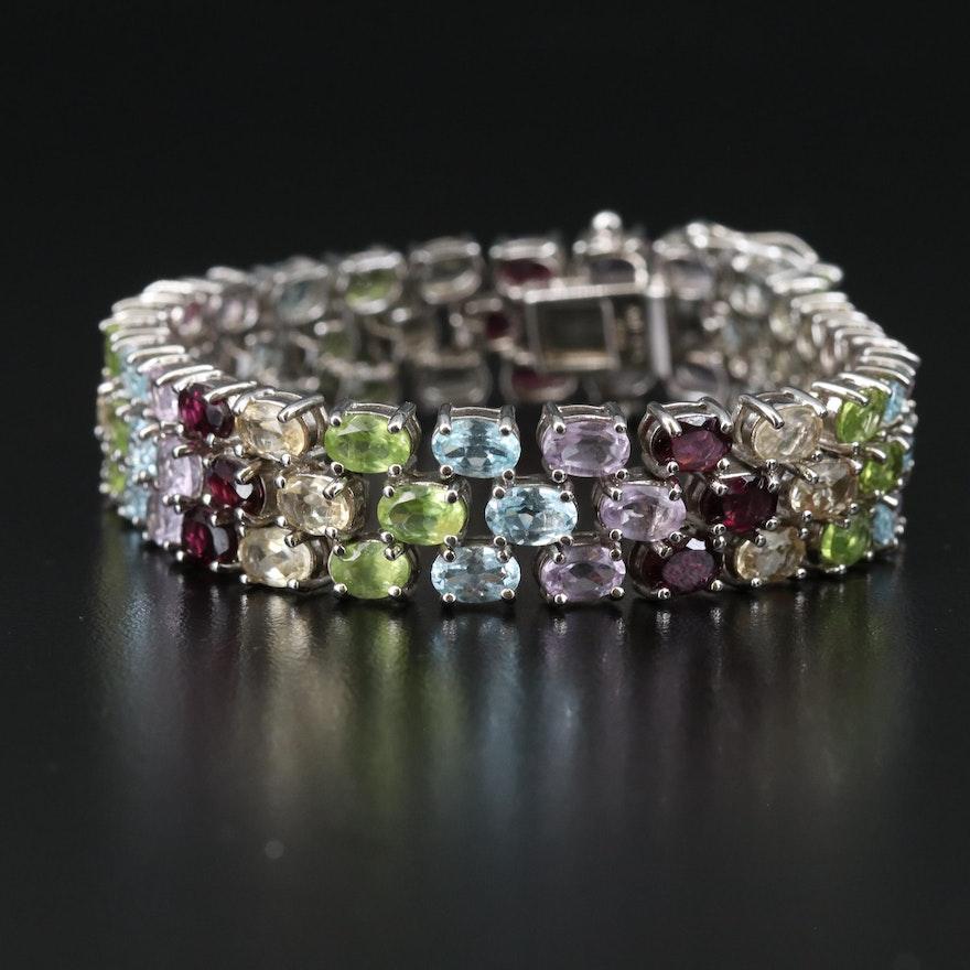 Sterling Silver Gemstone Bracelet with Rhodolite Garnet, Amethyst and Peridot