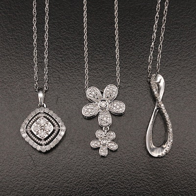 Sterling Diamond Pendant Necklaces Featuring Flowers