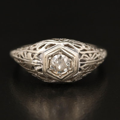 Edwardian 14K 0.24 CT Diamond Solitaire Ring