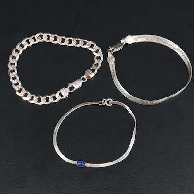 Sterling Silver Herringbone and Curb Chain Bracelets with Lapis Lazuli