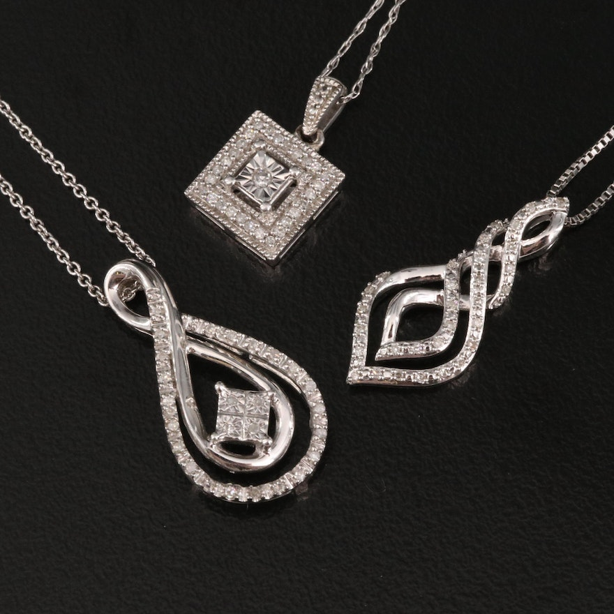 Sterling Silver Diamond Pendant Necklaces