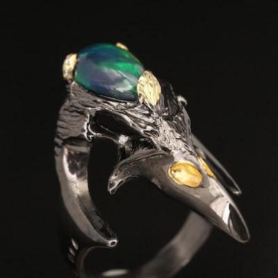 Sterling Opal Bird Skull Ring