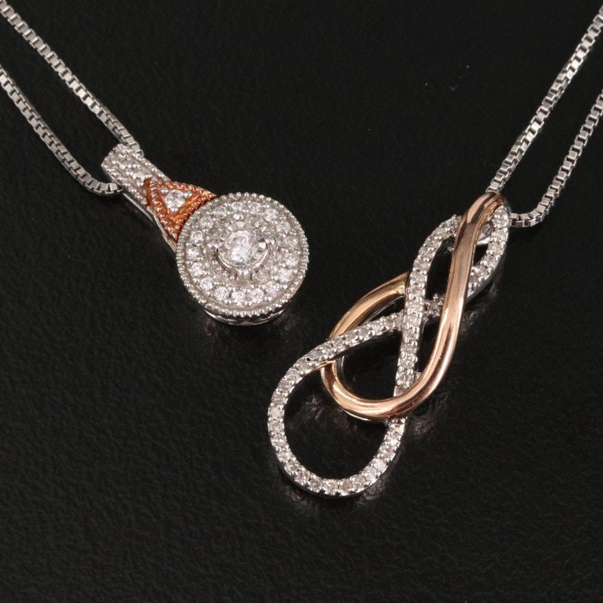 Sterling Silver Diamond and Cubic Zirconia Pendant Necklaces with 10K Accent