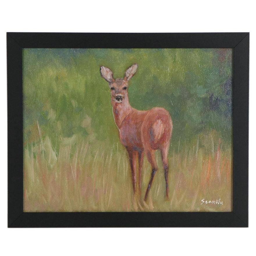 Sean Wu Wildlife Oil Painting of Deer