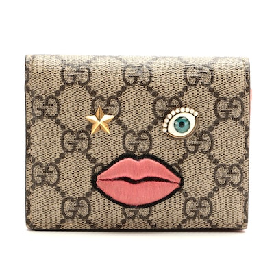 Gucci Appliqué and Embroidered Face Bifold in GG Supreme Canvas