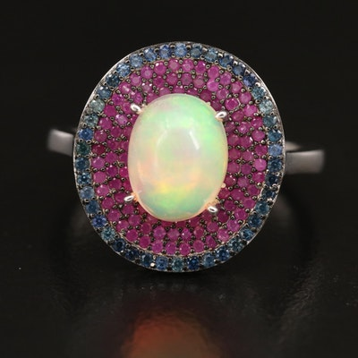 Sterling Silver Opal, Sapphire and Ruby Ring